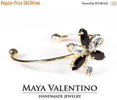 14K Gold Bracelet-Flower Bracelet-Swarovski by MayaValentino
