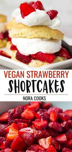 Vegan Strawberry Shortcake with homemade biscuits and coconut whip!Easy Vegan Strawberry Shortcake with homemade biscuits and coconut whip! Healthy Vegan Dessert, Cake Vegan, Vegan Dessert Recipes, Vegan Sweets, Healthy Sweets, Vegan Food, Vegan Shortcake, Homemade Strawberry Shortcake, Strawberry Desserts