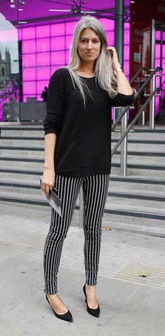 Sarah Harris, Vogue Editor - gorgeous grey hair at 31 - INSPIRING