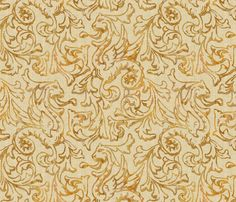 Here There Be Dragons ~ Gilt Gold on Bleached Cream Linen  fabric by peacoquettedesigns on Spoonflower - custom fabric