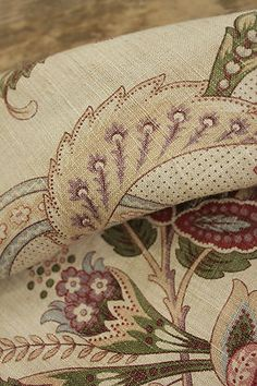 Antique French Fabric c1900 Printed Linen Indienne Design Floral Material   eBay