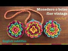 ▶ Mini tutorial # 12: monedero Flor vintage a crochet / English subtitles: blooming flower purse - YouTube