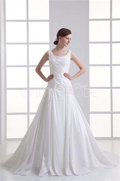 Robe de mariée simple ornée de perles et d´appliques en taffetas