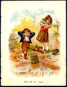 1890s Chromolithograph Mother Goose Rhyme by seasidecollectibles