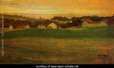 Meadow With Village In Background II - Egon Schiele - www.egon-schiele.net