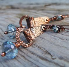 Copper Metalwork Earrings with Pink Champagne Glass and Hammered Coin Texture