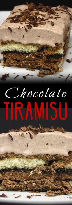 Chocolate Tiramisu - A delicious twist on a classic elegant dessert! This stuff is to DIE for!!