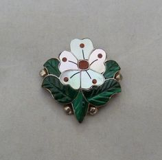 "VTG SONNY WALLACE ZUNI STERLING SILVER ""DESERT ROSE"" FLOWER CARVED PIN PENDANT"