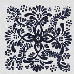 Counted Cross Stitch Pattern Delft Tile Dutch Navy Cobalt  PDF cs0680