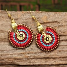 Woven cotton tribal circle earrings with hand shaped brass highlights - GORGEOUS Tribal Earrings, Seed Bead Earrings, Circle Earrings, Tribal Jewelry, Beaded Earrings, Crochet Earrings, Feather Earrings, Hoop Earrings, Macrame Colar