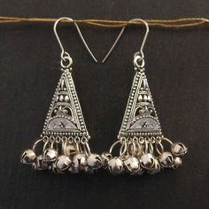 Ethnic silver boho earrings gypsy drop earrings chandelier ...