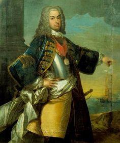 D. João V (1689-1750), o Magnânimo, reinou entre 1707 e 1750.  Filho de D. Pedro II e de D. Maria Sofia de Neuburgo, o Magnânimo recebeu o nome de João Francisco António José Bento Bernardo. Casado, em 1708, com D. Maria Ana de Áustria, filha do imperador romano-germânico Leopoldo I, teve seis descendentes legítimos, entre os quais Maria Bárbara (mulher do futuro Fernando VI de Espanha), José (futuro D. José, seu sucessor no trono português) e Pedro (D. Pedro III, marido de D. Maria I).
