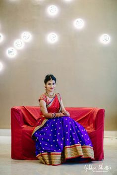 A Recent Favourite – The Lehengas In Royal Blue With Red And Similar Shades! Indian Wedding Bride, South Indian Weddings, Indian Bridal Wear, Half Saree Lehenga, Lehnga Dress, Kids Lehenga, Lehenga Blouse, Sari, Indian Dresses