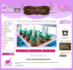 We created a feminine style candy buffet website design for the talented crew at Sugar Bunch Creations. The original SBC site had a brown and magenta color palette, we changed it up to fit an elegant wedding theme with a light and elegant lavender touch. http://www.sugarbunchcandybuffets.com/