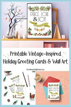 Spread seasonal cheer with these quirky and fun printable vintage-inspired holiday greetings in three designs. Designs include Merry Christmas Holiday Greeting Cards, Vintage Christmas Cards, Vintage Holiday, Christmas Crafts, Printable Vintage, Printable Cards, Printables, Merry Christmas And Happy New Year, Family Activities