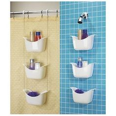Bask shower caddy by Umbra. This should work great in our clawfoot tub since it … Bask shower caddy by Umbra. This should work great in our clawfoot tub since it has no walls for the suction caddies :-] Hanging Shower Caddy, Shower Storage, Bathroom Storage Shelves, Bathroom Organization, Shower Caddies, Storage Cabinets, Storage Jars, Shower Rod, Diy Shower