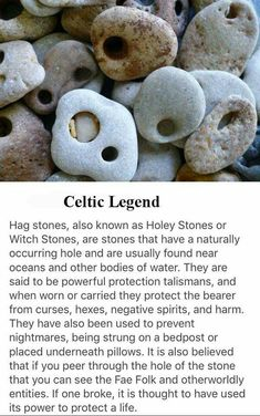 For all you witches that live near oceans, visiting beaches/ etc! 🌊I think these would look perfect with some tule to turn it into a… Wiccan Spell Book, Witch Spell, Wiccan Spells, Green Witchcraft, Magic Spells, Crystals And Gemstones, Stones And Crystals, Hag Stones, Baby Witch