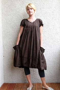 Eco friendly brown linen dress tunic by rubuartele on Etsy