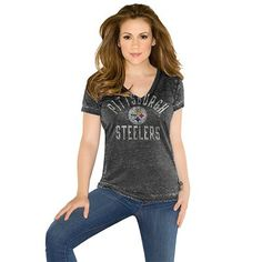 Touch by Alyssa Milano Houston Texans Women's Field Goal Slim Fit V-Neck T-Shirt - Navy Blue