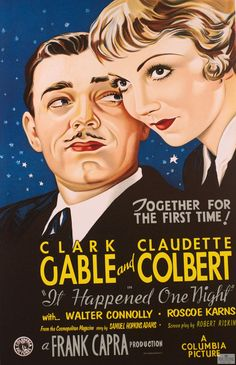 """It Happened One Night"" Vintage Movie Poster Lithograph for sale $395  #lithograph #art #vintage #classicmovie #movieposter #movie #poster #clarkgable #claudettecolbert #frankcapra"