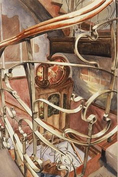 Balustrade - detail, Maison Victor Horta, Bruxelles by Paul Dmoch   #watercolor