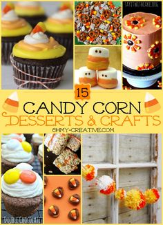 15 Candy Corn Desserts & Crafts for all your Fall celebrations and Halloween parties! Candy Corn Desserts and crafts are easy and fun for kids to make too! Holiday Treats, Halloween Treats, Halloween Fun, Holiday Fun, Halloween Parties, Halloween Foods, Fall Recipes, Holiday Recipes, Corn Recipes