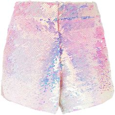 Manish Arora ombré sequinned shorts (3.410 BRL) ❤ liked on Polyvore featuring shorts, bottoms, pants, sequined shorts, manish arora and ombre shorts