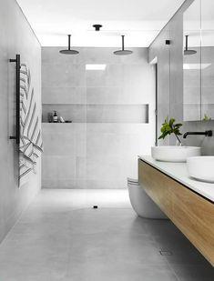 Modern Bathroom Tile, Bathroom Tile Designs, Bathroom Layout, Modern Shower, Bathroom Ideas, Grey Floor Tiles Bathroom, Grey Tile Shower, Small Bathroom, The Block Bathroom