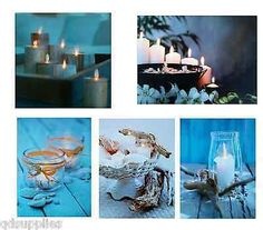 LED LIGHT UP CANVAS FLICKERING CANDLE BEACH THEME CHRISTMAS WALL ART PICTURES