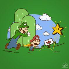 Calvin & Hobbes as Mario & Luigi