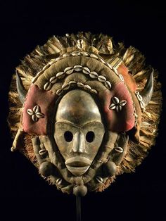 African Dan mask with horns and cowrie shell decoration from Liberia (African-art-shop)