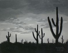 8x10 Black & White Cactus at Sunset acrylic by AcrylicsAndBeyond, $35.00
