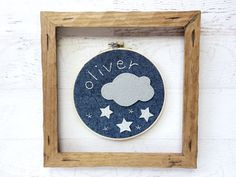 Cloud and Stars Embroidery and Felt Hoop Art by bluewithoutyoukids