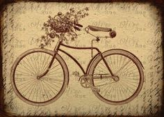 Vintage Bicycle with Basket of Flowers,