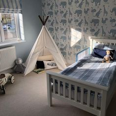 This is such a cool little nursery as shared by lozzyloves_ of her boy s new wallpapered bedroom showing our How It Works in blue and white wallpaper to its best. Lots of beautiful accessories that we too Boy Toddler Bedroom, Big Boy Bedrooms, Toddler Rooms, Girl Room, Childrens Bedrooms Boys, Kids Rooms, Bedroom Wallpaper Blue And White, Boys Room Wallpaper, Wallpaper Ideas