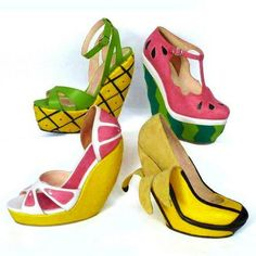 Funny shoes > hilarious high heels. Tropical fruit footwear . . . slip your foot into a tasty pineapple, watermelon, grapefruit or banana!