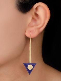 Lapis Lazuli Gold Tone Brass Earring
