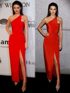 Kendall Jenner wearing a thigh high split red Romona Keveza gown and gold Christian Louboutin heels