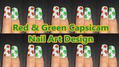 ~Red & Green Capsicam nail art design~