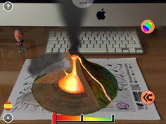 Volcán en erupción con RA