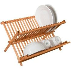Amazon.com: Two Level Folding Kitchen Counter Top Bamboo Dish Rack: Home Improvement