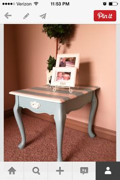 striped side table