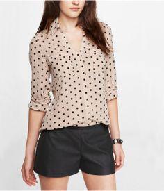 Polka Dot Convertible Sleeve Portofino Shirt