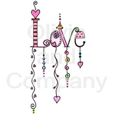 Love Dangles: words enhanced by adding some depth with doodling designs.