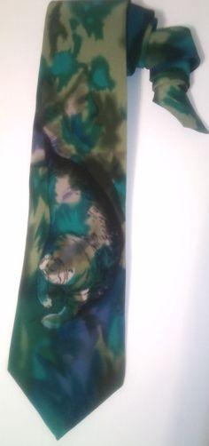 """World Wildlife Fund """"Manatees"""" Vintage Silk Men's Necktie, Novelty tie, WWF, Florida, Tie dye by KitschArts on Etsy"""