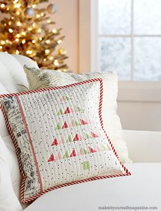 """Patchwork Pine"" cushion by Amy from nana Company - pattern is in Make It Yourself magazine (Fall/Winter 2015)"