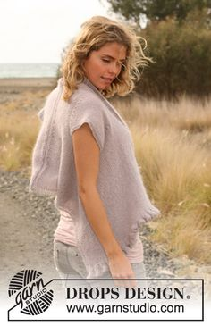 """DROPS 128-22 - DROPS jacket with flounce knitted sideways in """"Alpaca"""" and """"Kid-Silk"""". Size: S - XXXL - Free pattern by DROPS Design"""