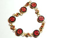 "Antique Micro Mosaic Bracelet Red Roses Vintage Jewelry. Style: Retro Colors: Red, Black, Pink, White, Green, Brass tone Materials: Glass, Metal Condition: Good Size: 7.5"" total length…"