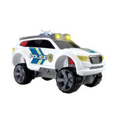 Ga de weg op met deze stoere politiewagen met licht en geluid! Er is ingebroken in een van de winkels in de stad, maar gelukkig ben jij in de buurt om de boeven te arresteren. Neem ze maar mee naar het bureau! Afmeting: lengte 30,5 cm - Politiewagen
