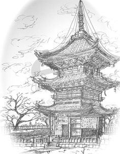 Castle+on+water+falls+Drawings | Can anyone recommend a studio in Edinburgh?-pagoda_by_songsensei.jpg